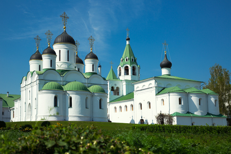 transfiguration: day shot of russian orthodox Transfiguration cathedral and Intercession church in Murom, Russia Stock Photo