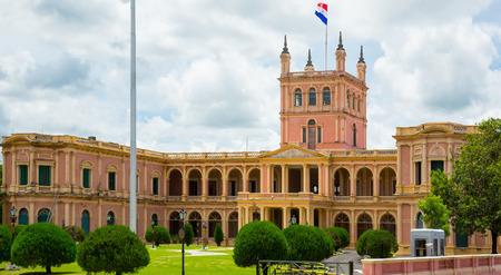 bandera de paraguay: Presidential Palace de los Lopez with interesting architecture in Asuncion