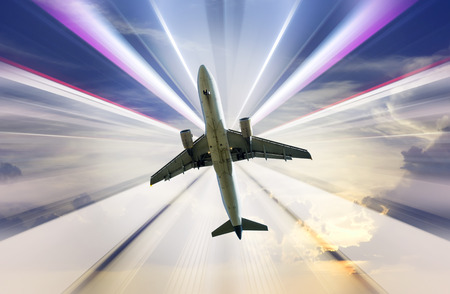 quickness: Big airplane taking up motion on bright divergent rays background