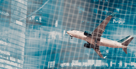 quickness: Airliner in motion on abstract background of highrise and binary code