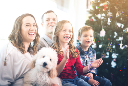 entertaining: Cheerful family members spending Christmas time together at home Stock Photo