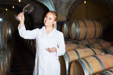 laboratorian: Portrait of professional female taster of winery posing with wine in cellar Stock Photo