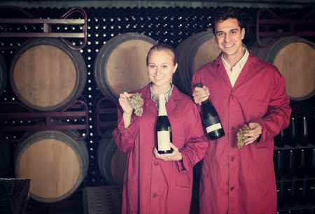 coveralls: Two cheerful winery employees in uniform holding bottles of wine in aging section in cellar