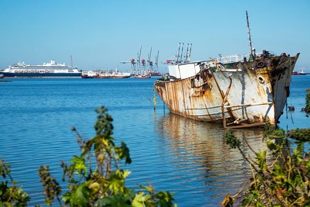 Panoramic view of contrasting cityscapes of port area in Montevideo Stock Photo