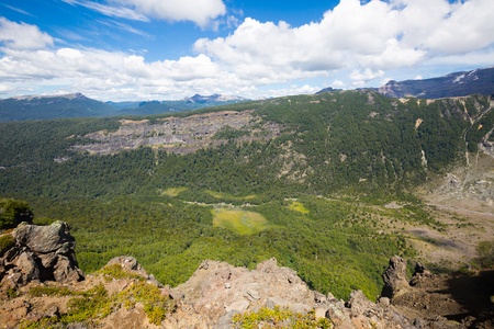 mount tronador: View of slopes and top of mountain Tronador and glaciers of Alerce and Castano Overa, Patagonia, Argentina Stock Photo