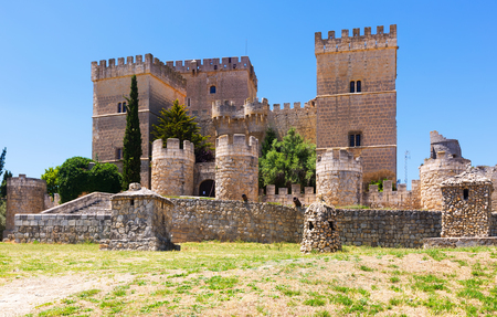 Castle of  Ampudia in summer.   Province of Palencia, Castile and Leon, Spain