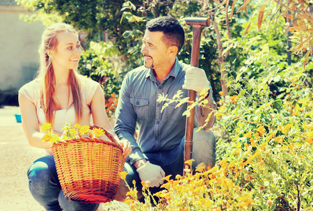 Portrait of happy woman and man greenhouse workers with their flower basket. Focus on man