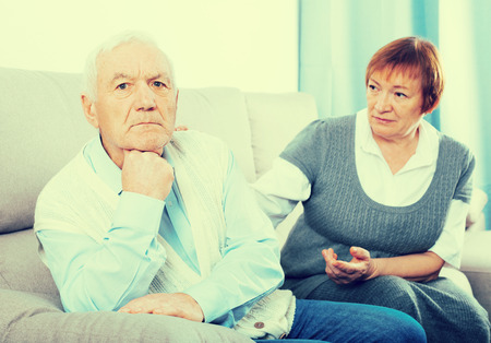 Old husband and wife quarrel with each other and find out relationship Stock Photo