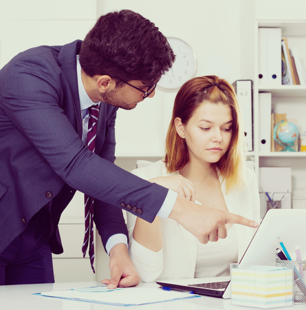 tardiness: Angry boss blowing up female subordinate for mistakes in work