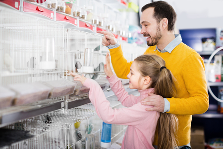 Positive male and daughter deciding on best bird to keep in pet store