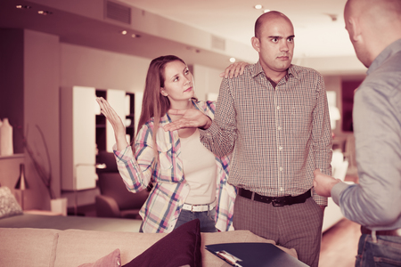 furor: Adult family couple dissatisfied with service in furniture store