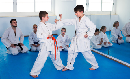 Friendly cheerful boys training in pair to use karate technique during class