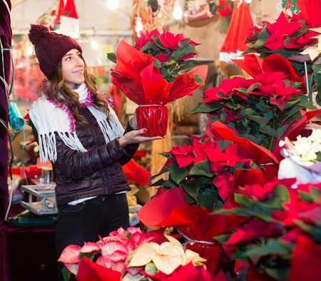 Girl customer buying floral composition for Christmas Stock Photo