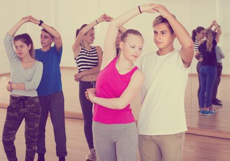hustle: Ordinary children  dancing of partner dance at dance school