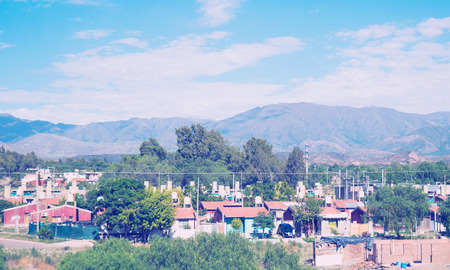 Town Mendoza in La Rioja valley at foot of Andes, western Argentina, Patagonia, South America