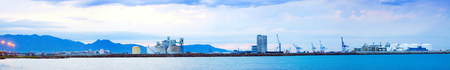 Panarama of Puerto de Castellon -  commercial industrial port. Castellon de la Plana Stock Photo
