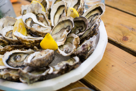 oysters close up shot local focus delicious food Stock Photo