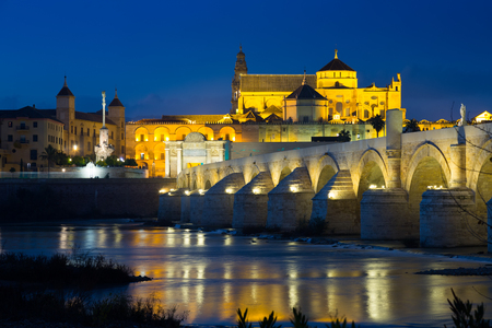 View of Mosque-cathedral of Cordoba and Roman bridge in night time.    Andalusia, Spain Stock Photo