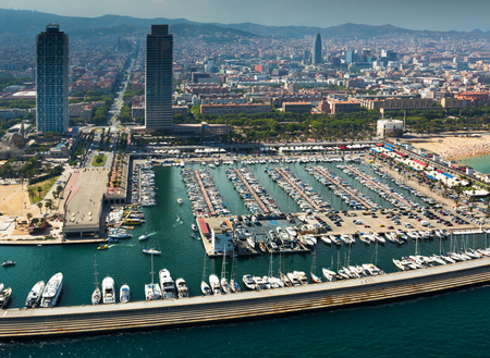 aerial view of docked yachts in Port Olimpic. Barcelona, Spain