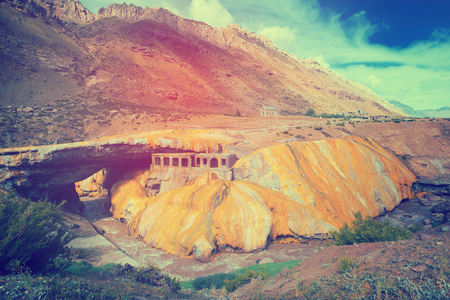 View on the Inca Bridge formation over the Vacas River in Argentina Stock Photo