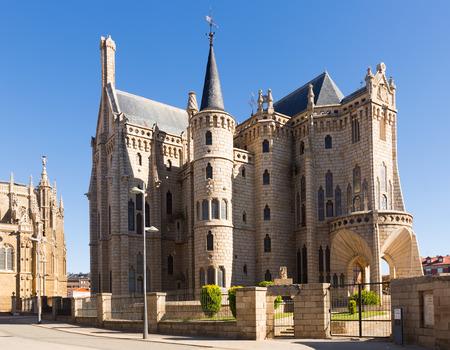 ASTORGA, SPAIN - JUNE 28, 2015: Episcopal Palace of Astorga, was built 1889-1815 in Modernism style  by Antoni Gaudi.   Spain Editorial