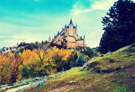 Autumn view of Castle of Segovia  in november day.   Spain