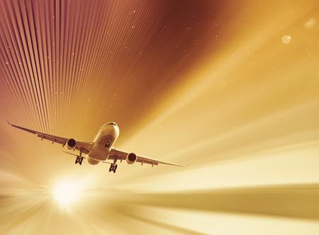Modern en kleurenbeeld over vliegend vliegtuig in de lucht Stockfoto