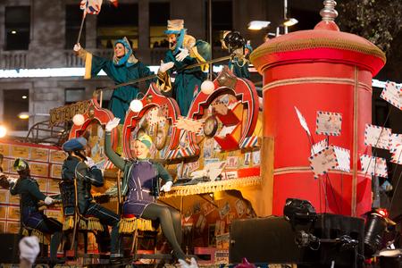 BARCELONA, SPAIN –  JANUARY 5, 2017: Parade cavalcade Three Kings around streets of Barcelona. Cabalgata de los Reyes Magos. Barcelona, Spain