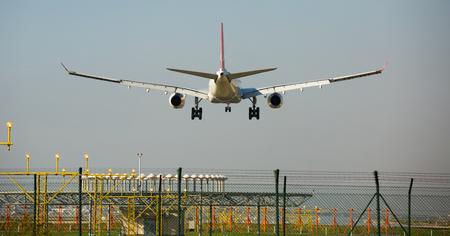 BARCELONA, SPAIN - MARCH 09, 2017:  Turkish Airlines plane landing in El Prat Airport on time. Barcelona, Spain Editorial