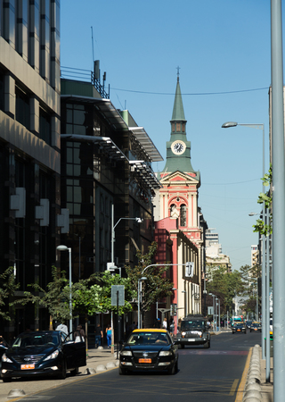 noteworthy: SANTIAGO, CHILE - FEBRUARY 10, 2017: Central street av. Libertador Higgins in Santiago with landmarks and historic buildings. Chile, South America