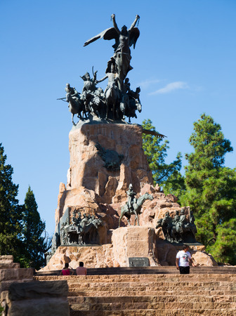MENDOZA, ARGENTINA - FEBRUARY 12, 2017: Monument in city park of Mendoza, on hill Cerro de la Gloria. Mendoza, Argentina, Patagonia, South America