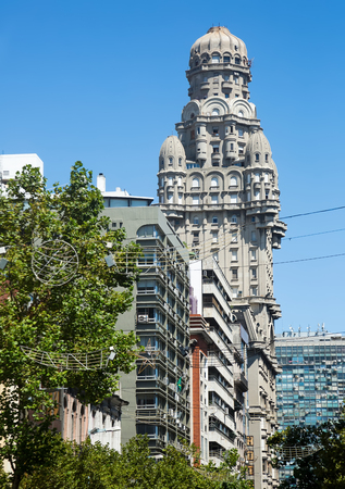 MONTEVIDEO, URUGUAY - FEBRUARY 19, 2017: Palace Palacio Salvo landmark in Montevideo and historical monument. Montevideo, Uruguay