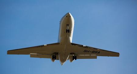BARCELONA, SPAIN - MARCH 09, 2017:  Board 9H-BSA landing in El Prat Airport on time. Barcelona, Spain Editorial