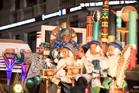 melchor: BARCELONA, SPAIN –  JANUARY 5, 2017: Parade cavalcade Three Kings around streets of Barcelona. Cabalgata de los Reyes Magos. Barcelona, Spain