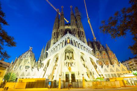 BARCELONA, SPAIN - JUNE 10, 2016: Night view of Barcelona, Spain.  Basilica and Expiatory Church of the Holy Family (Sagrada Familia)