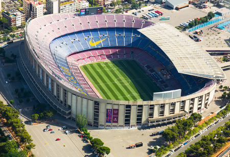 BARCELONA, SPAIN - AUGUST 7, 2016: Aerial view at Camp Nou, famous footbal stadium in Barcelona of Catalonia, Spain Editorial