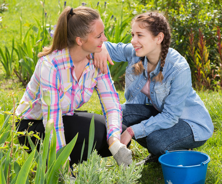 positive two young  caucasian females working in the outdoor