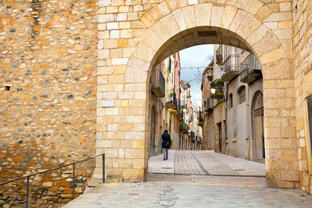 Ancient narrow streets in Monblanc  at cloudy day in Spain