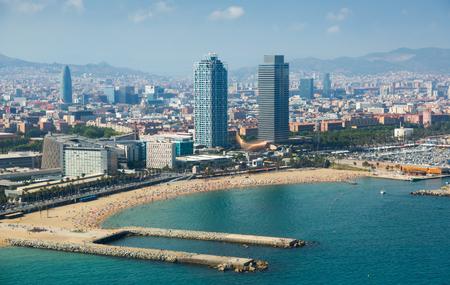 Aerial view of Barcelona beach from Mediterranean sea.  Barcelona Stock Photo