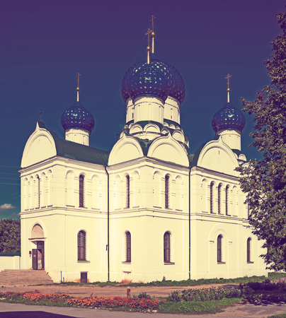 cloister: day shot of russian orthodox Epiphany monastery complex in Uglich town, Russia on summer day Stock Photo