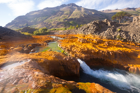 View of Agrio river and stony rapids on summer day. Patagonia, Argentina, South America Stock Photo