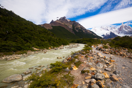 Stream from melting glaciers in Andes mountains (Cerro Fitzroy, Cerro Chaltel, Chalten, Monte Fitz Roy). Patagonia, Argentina, Chile, Andes