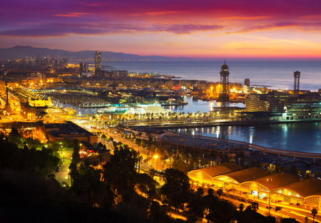 Port Vell at Barcelona in dawn.  Catalonia