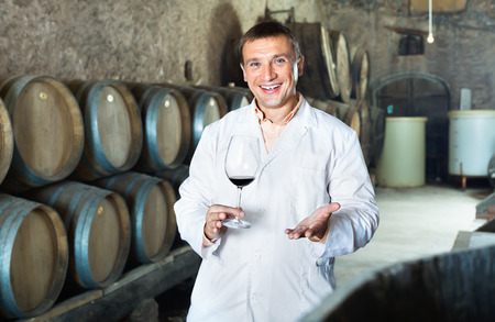 Glad professional taster posing with glass of wine in winery cellar Stock Photo