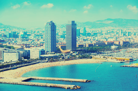 aerial view of Barcelona from Mediterranean sea. Spain Stock Photo