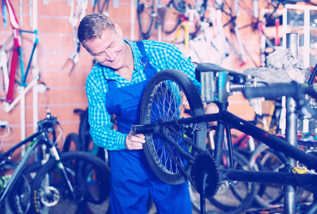 Positive man worker in uniform checking bicycle in shop Stock Photo