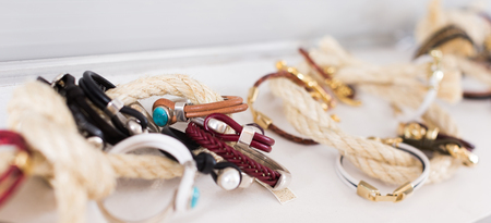 The store selling different leather bracelets with clasp