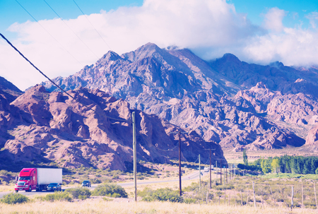 towering: General view of the Andes from valley near NR 7 road in Argentina Stock Photo