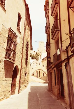 Narrow street in old  Tortosa, Spain Stock Photo