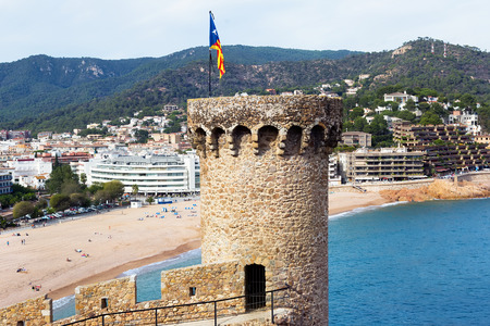 General view of town of Tossa de Mar from tower in summer Editorial